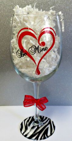 """BE MINE"" VALENTINE WINE GLASS by My Paper Craze"