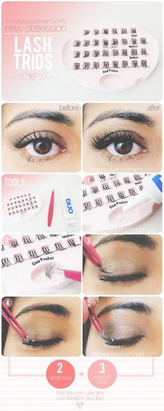 False eyelashes in small clusters to be applied for a beautiful lash look