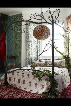 Fairy tale bedroom with cast iron bed frame and creeping ivy