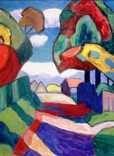 """Painting: """"Road in Multicolored October"""" – 1959, by German artist, Gabriele Münter (1877–1962)"""