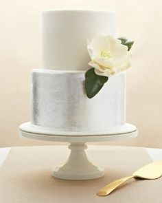 Silver Cake - all silver, with black arches ect... for art deco vibe on a gold cake plate