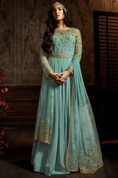 Buy Latest Bollywood Style Exclusive Designer Gowns and Suit at Lowest Price. Buy Beautiful Designer Anarkali Party Wear Suit at Kinas Designer. For more information contact us: 7802885280 Robe Anarkali, Indian Anarkali Dresses, Costumes Anarkali, Designer Anarkali Dresses, Designer Gowns, Anarkali Suits, Saree Dress, Abaya Fashion, Suit Fashion
