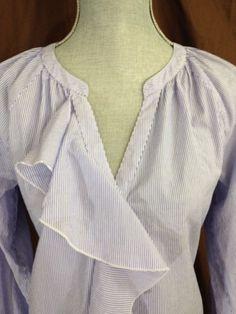 Ann Taylor Loft Blue White Ruffle Shirt Medium M Long Sleeve100% Cotton Casua #AnnTaylorLOFT #ButtonDownShirt #Casual