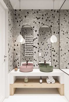 Papier peint terrazzo pour un style design dans une salle de bain. Terrazzo, Beautiful Bathrooms, Modern Bathroom, Small Bathroom, Master Bathroom, Bad Inspiration, Bathroom Inspiration, Bathroom Interior Design, Interior Design Living Room