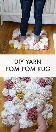 Make a beautiful pom pom rug for your nursery with super simple supplies! DIY Easy Pom Pom Rug – Say Yes Make a beautiful pom pom rug for your nursery wi…DIY Pom Pom Rug Super Easy To Make With Fluffy Wool Yarn DIY POM POM RUG – Do…Super Fast & Easy DIY … Nursery Crafts, Diy Nursery Decor, Baby Nursery Diy, Nursery Rugs, Baby Crafts, Baby Decor, Diy Baby, Nursery Ideas, Garland Nursery
