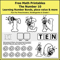 Free Math Printables for preschoolers, Kindergarten or Grade 1 students. The number 10: Number Bonds of ten, place value, odd or even, writing ten in words, and more.