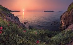 Download wallpapers seascape, sunset, evening, rocks, coast, mountains, Mediterranean Sea
