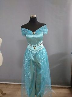 Princess cosplay costume Adult Halloween Costumes for women party sexy Jas-mine dress Jasmine Costume Women, Jasmine Halloween Costume, Princess Jasmine Costume, Fairy Halloween Costumes, Princess Costumes, Disney Princess Dresses, Disney Dresses, Aladdin Musical, Aladdin Party