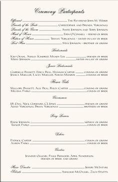 Wording Examples Wedding Ceremony Programs   Wedding Program ...