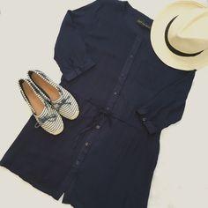 Navy Blue 3/4 Sleeve Shirtdress