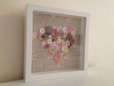 Pink Flower Box Frame Button Art Unique Handmade. size 9x9inc