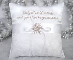Baby It's Cold Outside Winter Snowflake Crystal Jewel Glitter Organza Silver…