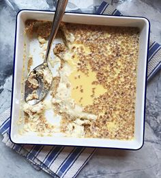 "Grape-Nuts custard recipe with its cereal ""crust"" and creamy filling. Find out why Grape-Nuts pudding is a classic New England dessert. Grapenut Custard Recipe, Grapenut Pudding, Custard Pudding, Custard Recipes, Pudding Recipes, Grape Nut Pudding Recipe, Grape Nuts Recipes, Delicious Desserts, Yummy Food"