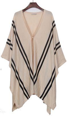 V-neck Striped Irregular Hem Knitted Cape