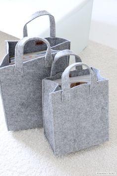 grey felt storage bags