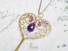Купить Кулон Ключ от Сердца Латунь Аметист нежный золотистый белый романтика