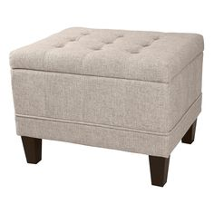 The Dorothy Tufted Linen Storage Ottoman is the perfect blend of style and practicality. The ottoman, which can easily be used as a seat, opens up to reveal ample storage space.