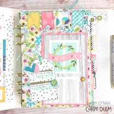 Creative team member Leah O'neil's set up in her Carpe Diem planner using the Domestic Bliss collection