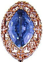 Empress Maria Feodorovna Blue Diamond Stickpin, c 1800. (wife of Emporer Paul I) Stone believed to be cut from La Tavernier, from which the Hope Diamond also was cut. Originally set in a ring. Marie's daughter in law Empress Alexandra Feodorovna gave the jewel to the Russian Diamond Fund in 1860. Jewels of the Romanovs, 1997, pp 32-33.