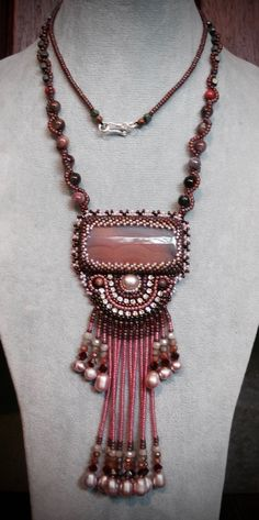 Embroidery Necklace made with Botswana Agate, Swarovski Crystal, Japanese glass Bead and Freshwater pearl. Finished with a silver hook * I made only