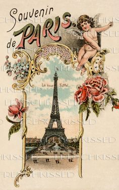 Antique Paris Postcard EIFFEL Tower 1896  Cupid by FrenchKissed,