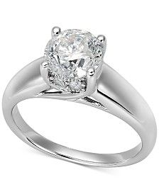 Certified Diamond Solitaire Engagement Ring in 14k White Gold (1-1/2 ct. t.w.)