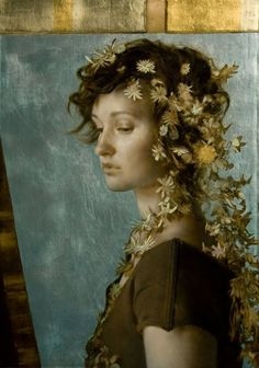 the paintings and artwork of brad kunkle. gold leaf artist and painter brad kunkle. Figure Painting, Painting & Drawing, Art Beauté, Brad Kunkle, Amazing Paintings, Oil Paintings, Painted Leaves, Wow Art, Visionary Art