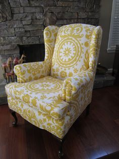 Bedroom chair - I LOVE the yellow print - bedroom new decor