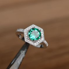 promesa de anillo de compromiso anillo Esmeralda por godjewelry