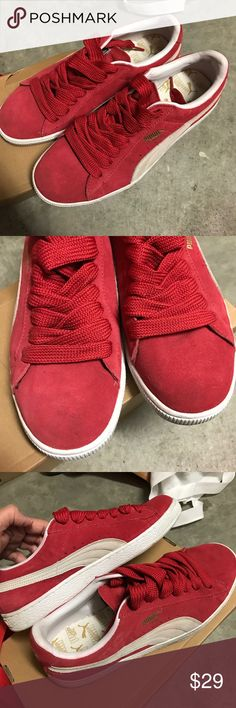 1 hr saleMen's Puma Red Suede sneakers Excellent condition. No major flaws, except what looks like a slight scuff on the right shoe in the toe area (pictured). Otherwise standard light wear. No trAdes, reasonable offers accepted. Puma Shoes Sneakers