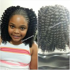 Cornrows in the front and crochet curls in the back.  #internationalhair…