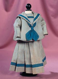 Antique Mariner Costume with Narrow Blue Stripes