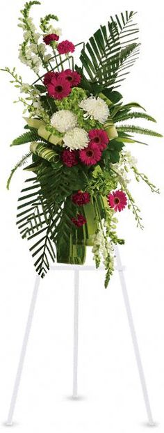 Order Gerberas and Palms Spray flower arrangement from Flowers Plus of Elk River, your local Elk River, MN florist. Send Gerberas and Palms Spray floral arrangement throughout Elk River, MN and surrounding areas. Arrangements Funéraires, Funeral Floral Arrangements, Church Flowers, Funeral Flowers, Wedding Flowers, Bereavement Flowers, Wreaths For Funerals, Casket Flowers, Funeral Sprays