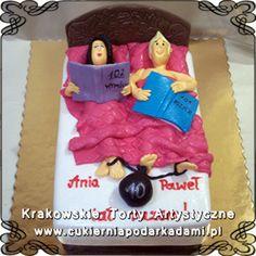 126. Tort małżeństwo z książkami w łóżku na 10tą rocznicę ślubu. Cake for 10th wedding anniversary.
