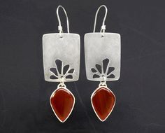 Sterling Silver and Banded Carnelian Earrings with Stylized Flower Petal Cutouts ~ One of A Kind, Handmade Dramatic Statement Earrings