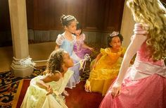Little princesses curtsying with Princess Aurora
