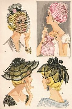 1960s Flirty Hats Pattern McCALLS 2474 Fascinator,Large Tiered Brim,Petal Hat, Nightcap and Curler Bag Vintage Sewing Pattern