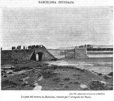 Pont del tramvia de Badalona trencat per l'avinguda del Besós. Gener de 1898