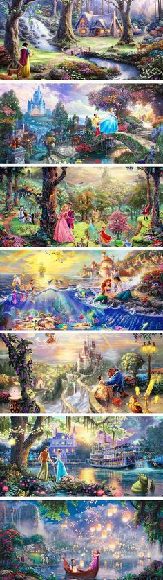 I absolutely LOVE the Tangled one! Thomas Kincaide. I love how they hide stuff in the paintings!