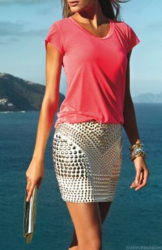 Studded skirt & Basic tee