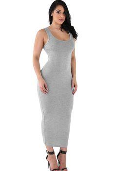 Robe D ete Femme Longue Gris Moulante Extensible Confort Pas Cher www.modebuy.com @Modebuy #Modebuy #Gris #femme #me #robes