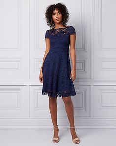 Lace Illusion Fit & Flare Dress - Dance the night away in this lovely lace dress with an illusion neckline and flattering fit-and-flare silhouette. Fit Flare Dress, Fit And Flare, Illusion Neckline, Dance The Night Away, Dance Dresses, Illusions, Lace Dress, Fashion Dresses, High Neck Dress