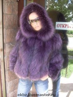 Purple fox fur hoodie...love! http://www.foxandklaff.com/