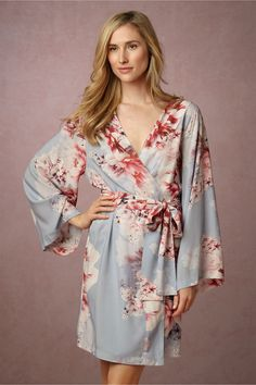 this piece is perfect for those sweet getting ready pictures of you and your maids   Botanic Garden Robe in Oceane from BHLDN