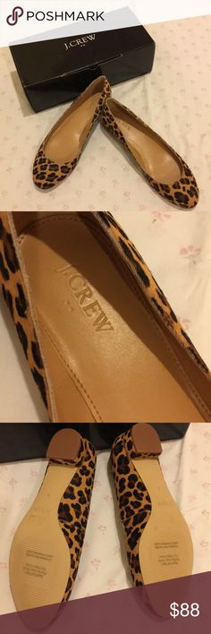 "NIB J. Crew Lily Style Leopard Print Flat Shoes NIB J. Crew Lily Style Leopard Print Flat Shoes.  Outside material is calf hair.  Heel is 1"".  Size is 8M.  Very stylish & trendy!  Nonsmoking house. J. Crew Shoes Flats & Loafers"
