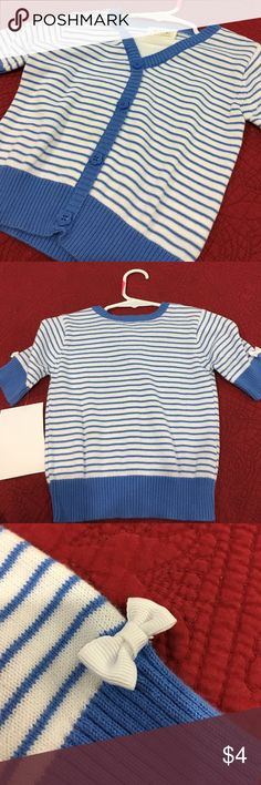 Quarter length sleeve striped sweater. Children's Place sweater, blue/white stripes with white bows on both sleeves. Great condition. Size 4T. Children's Place Shirts & Tops Sweaters