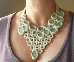 Statement bib necklace with 16 sea glass Weddings beige crochet collar OOAK bohemian beach handmade gift her autumn Europe Christmas. $160,00, via Etsy.