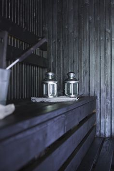 Dark coloured sauna