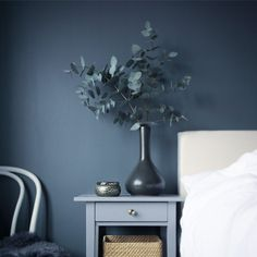 Beautiful greyscale bedroom by , elegant and calm! The wall is painted in the color Våg 771 from Beckers. Bedroom Inspo, Home Bedroom, Bedroom Decor, Bedroom Wall Colors, Room Colors, Hektar Ikea, Inspired Homes, Lofts, My New Room