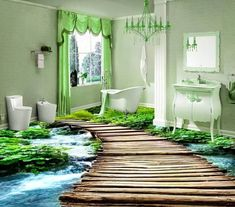 wallpaper 3 on sale at reasonable prices, buy pvc flooring custom waterproof wallpaper 3 d bridge watercourse bathroom flooring picture photo wallpaper for walls from mobile site on Aliexpress Now! 3d Floor Art, 3d Floor Painting, Mural Painting, 3d Wall Murals, Floor Murals, 3d Flooring, Bathroom Flooring, Floor Wallpaper, Photo Wallpaper